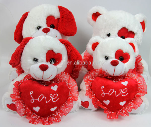 Luckiplus Hot Sale First Class White and Red Teddy Bear and Puppy Safe Technology Toy For Kids