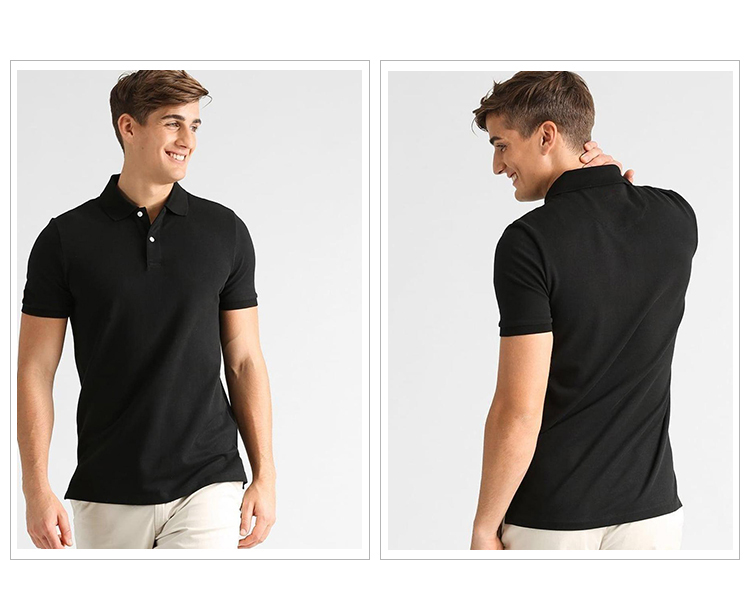 2017 high quality men custom logo blank 100% cotton quick dry fit black sports golf polo t shirts factory import wholesale