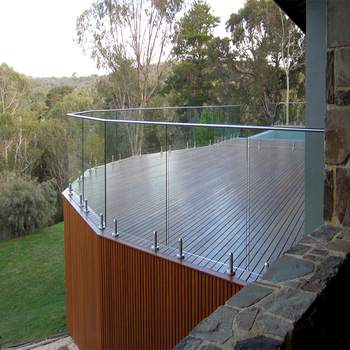 Tempered frameless glass spigots railing used residentail