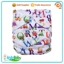 Free Shipping Character Printed Cloth Diaper Cotton AIO Fabric Diapers