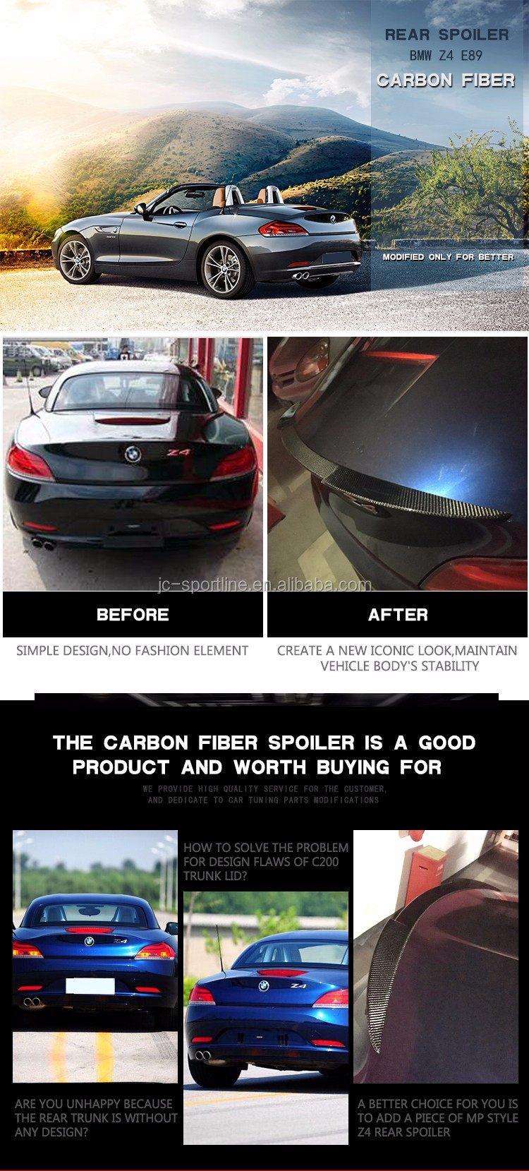 Carbon Fiber Car Spoiler for BMW Z4 E89 Z Series 09-15