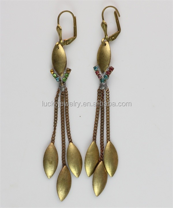 Beautiful Long Korean Earrings Diamond Dangler Earrings For Girls