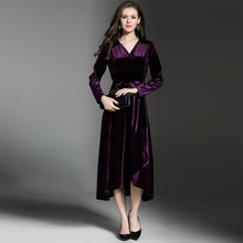 2018 High Quality Autumn Winter Party Velvet Long Dress With Sash