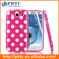 Set Screen Protector And Case For Samsung Galaxy S3 I9300 , Dot Pattern Hard Gel Custom TPU Case