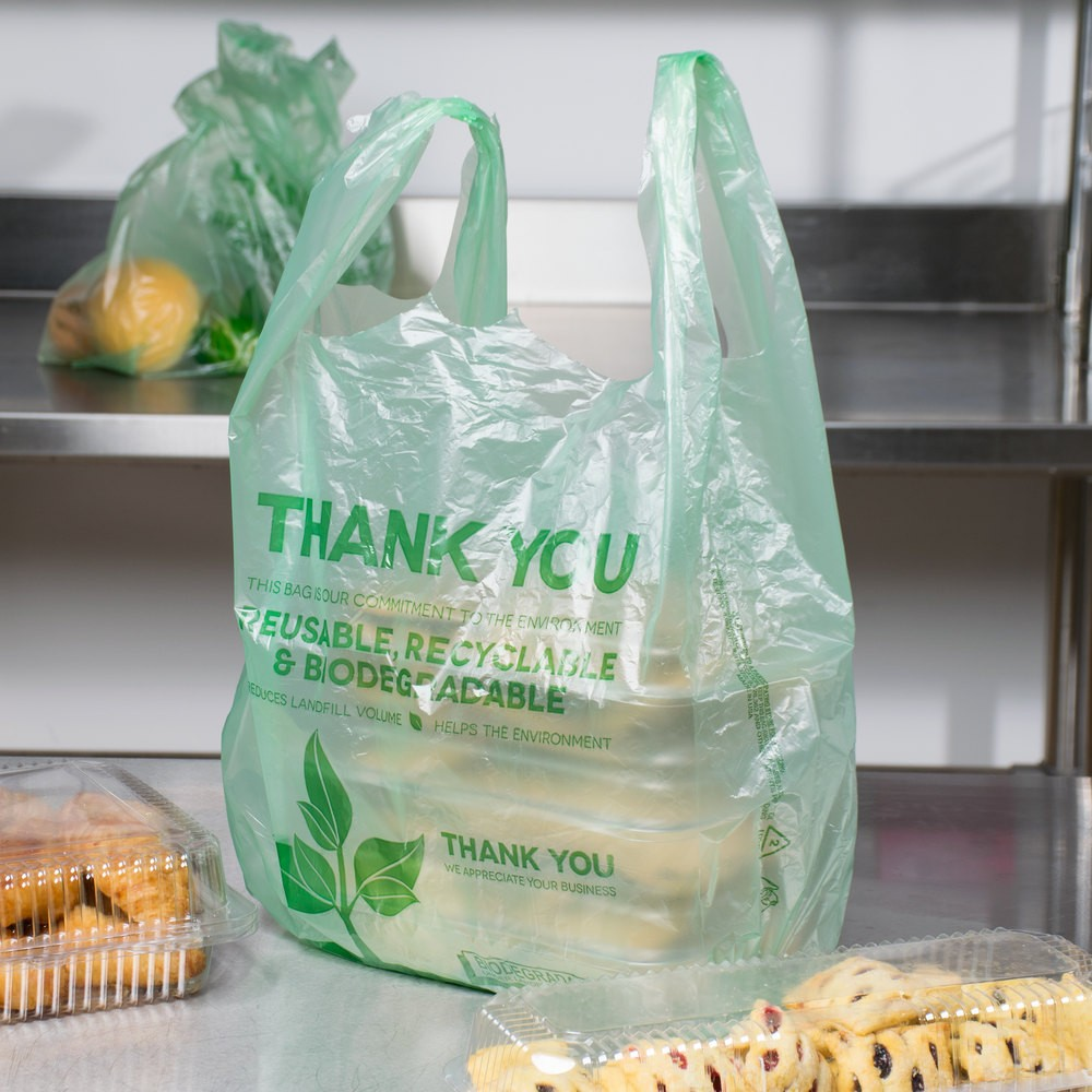 resealable Biodegradable Plastic T-Shirt Bag carry bags packaging plastic bags - 500/Case