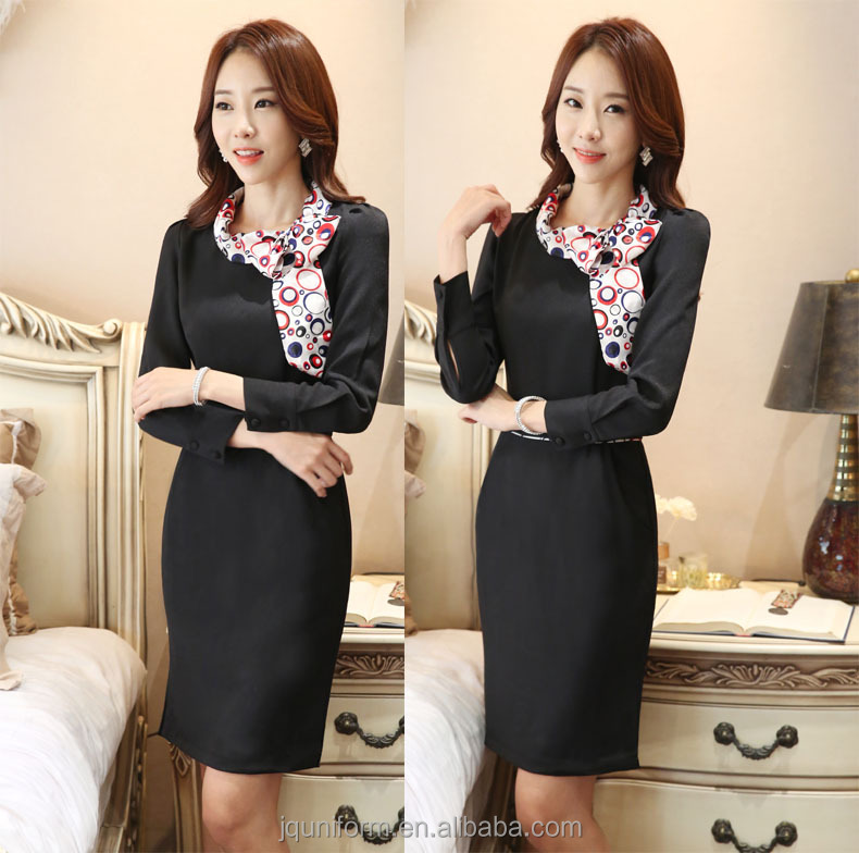 Juqian factory business office dress formal lady dress with sleeves