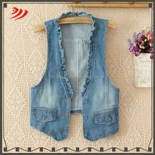 Ladies sleeveless wholesale long jean vest