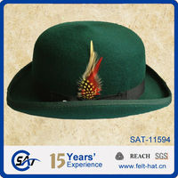 Wool felt green derby hat