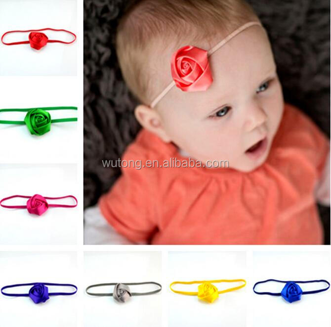 18 colors 2'' Hair accessory Rosettes rose flower satin silk carnation fabric flower Elastic thin Skinny headbands for baby