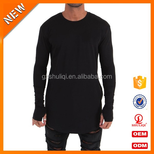 Men plain long length t-shirts longline muscle curve bottom men long sleeve t shirt