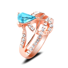 Elegant Zircon Rings High Finished End Rose Gold Plating Rings Daily Wear Finger Rings For Girls