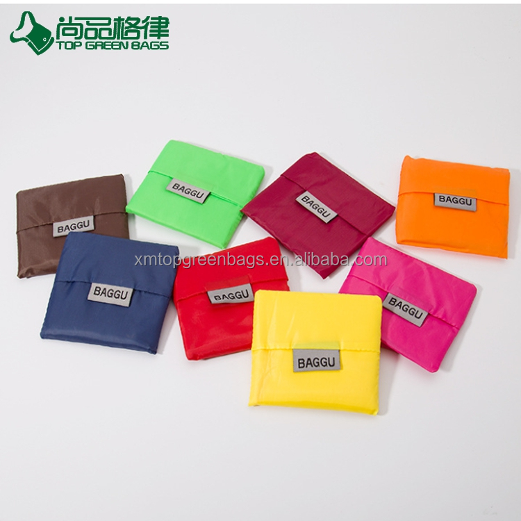 2017 promotional standard size portable folding shopping bag foldable pouch