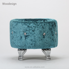 Metal foots blue round dressing fancy stool ottoman with crystal diamond button