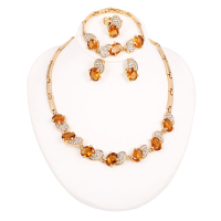 A034-O gold plated jewellery set wedding or party women jewellery set fashion unique colorful jewellery set
