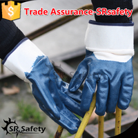 SRSAFETY Jersey liner half coated knitted cuff blue bulk nitrile glove / working glove / safety gloves,China supplier