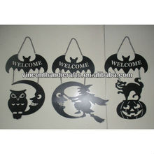 Halloween ornaments wall hanging black metal tin bat with words and animal decor