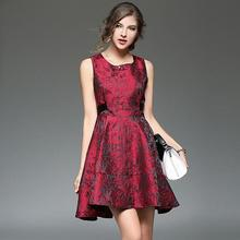 WE1014 Jacquard European style celebrity sleeveless women swing dresses