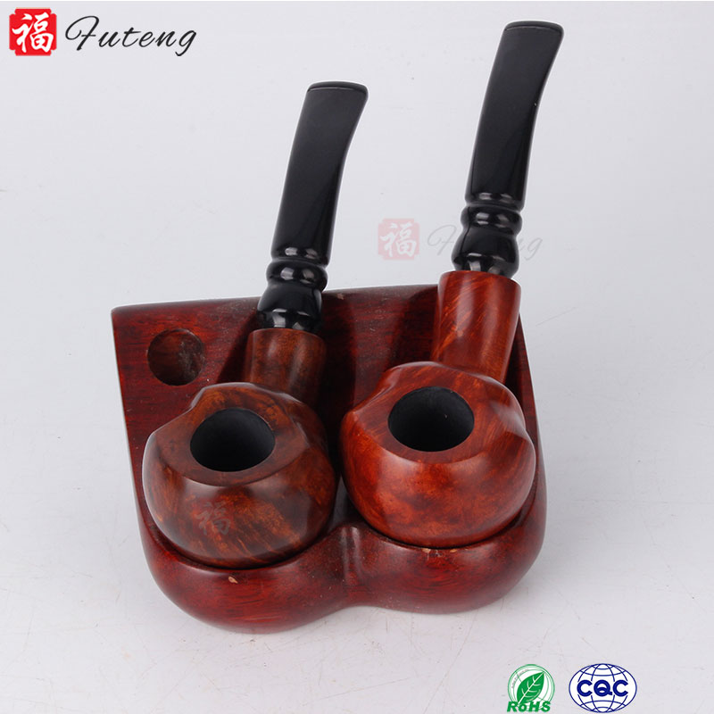 Full Bent Carved Pear Root Wood Pouch Gift Briar Tobacco Smoking Pipe