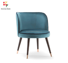 Contemporary royal restaurant wood oval back dining chair velvet cover