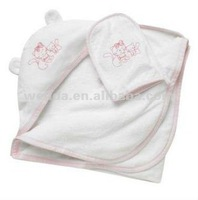 Terry with cute cat newborn baby hooded towel