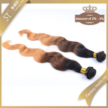 Wholesale 3 tone color ombre hair extension brazilian human hair sew in weave