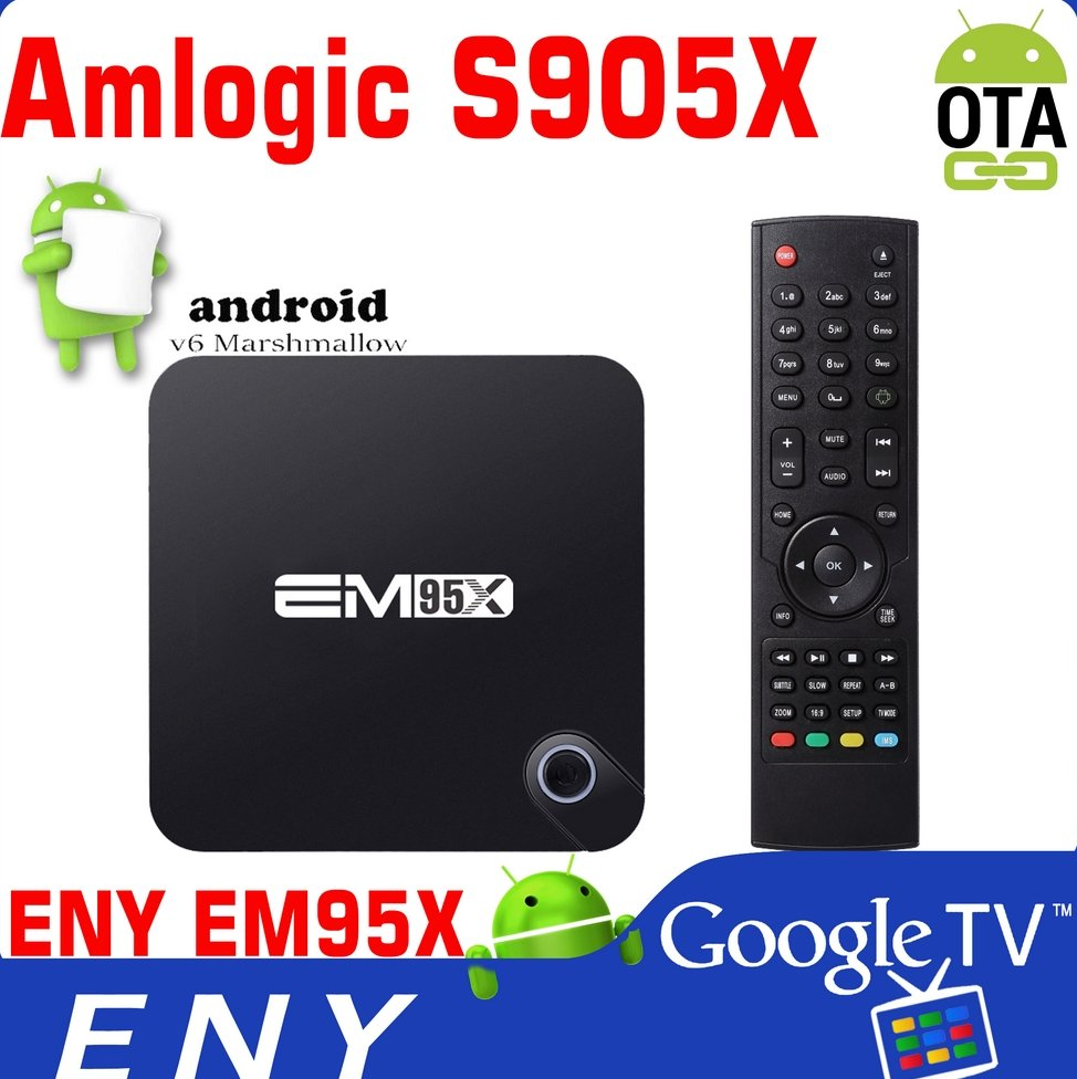 EM95X 4K Android 6 S905X Android 6.0 TV Box Codi Internet Cheapest Smart Android TV Box