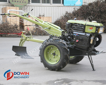 DOWIN two wheel tractor low price for sale,farm hand tractor 12Hp diesel engine with lawn mower implement
