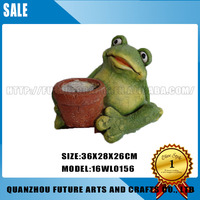 Resin Decorative Frog Animal Garden Mini Flower Pot (16WL0156)