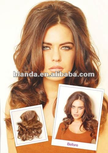top quality beauty belle russian hair 3/4 full head clip in deep wave human hair extension