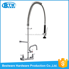 "OEM&ODM accept dual handle 8"" wall mount 6"" spout chrome finishing brass china kitchen faucet"
