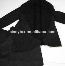 black 100%polyester bonded shearling fake fur fabric