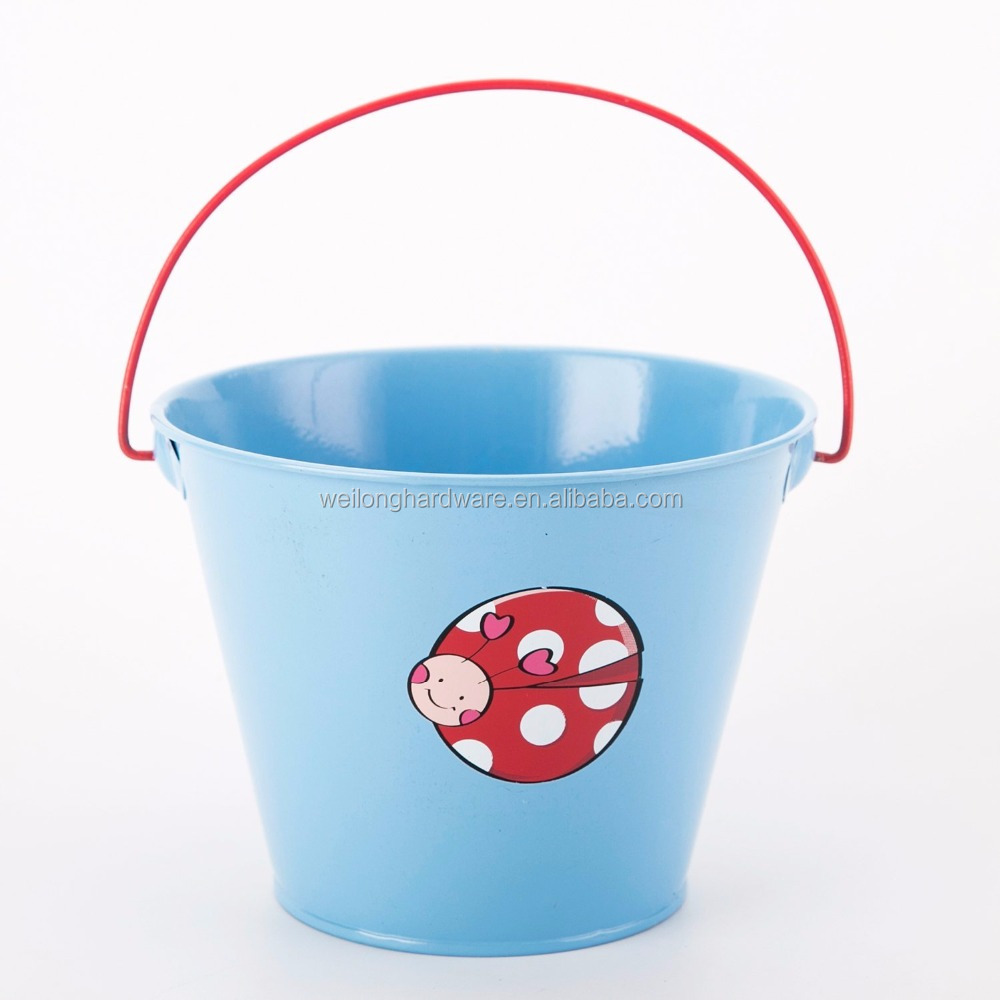 Multi Color Printing Galvanized Bucket for Garden Decorative For Kid