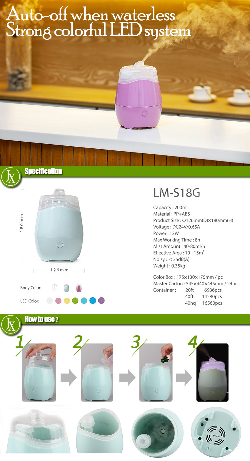 Ultrasonic aroma cool mist led light diffuser