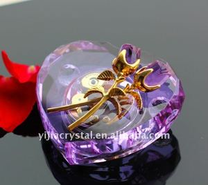 Purple Heart Shape Crystal Music Box for Wedding Return Gifts