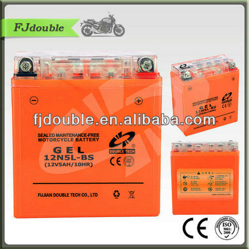 low price 12v 5ah motorcycle battery 12N5L-BS, storage battery