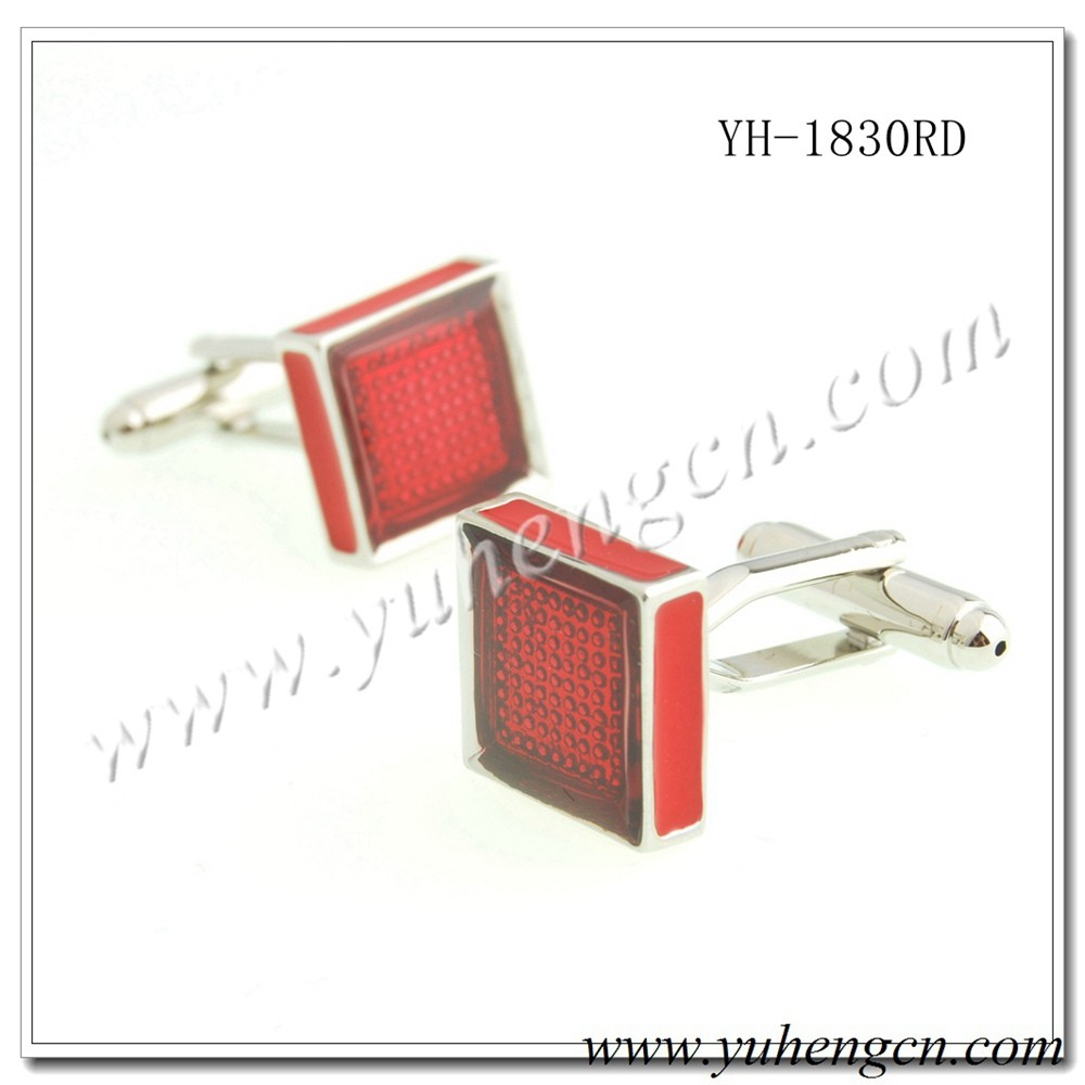 YH-1830RD Elegant Classic Mens Square Transparent Red Enamel Cufflinks