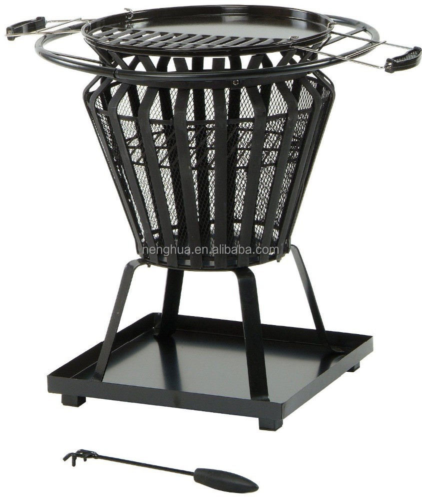 Round BBQ Brazier Fire Pit With Removable Barbeque Grill