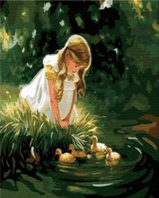 oil painting by number little girl picture and small duck design painting on canvsa GX6979 factory new design