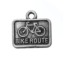 Wholesale Zinc Alloy Rectangle Antique Silver Engraved Bike Route Sign Charm