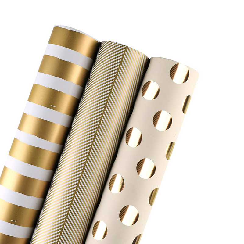 High Quality Gold Foil Printed Wrapping Paper for Holiday Wedding Gift Wrap