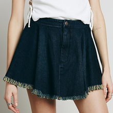 China Garments OEM Manufacturer Raw Bottom Soft Washing Beautiful Girls Short Denim Jean Skirt NT6214