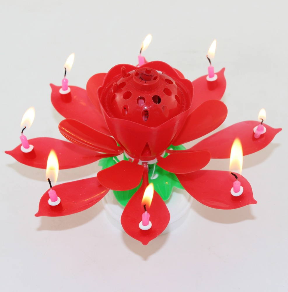 Auto Open Up Birthday Candles Musical Flower Candle