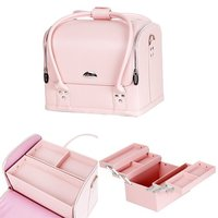 Removable Trays , Pink With Synthetic Leather Women Handbag Makeup Train Case