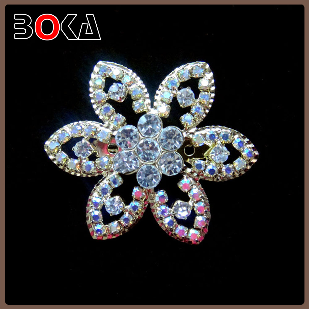Charming Flower pink and purple Rhinestone Crystal Silver-plated Art Nouveau Brooch Pin