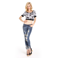 Latest Fashion Wholesale Women Designer Denim Jean