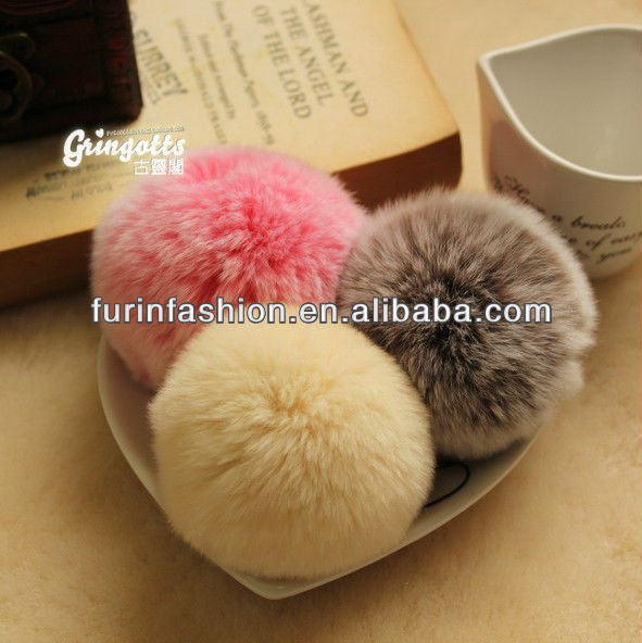 Cute Rex Rabbit Fur Pompon/ Phone Chain