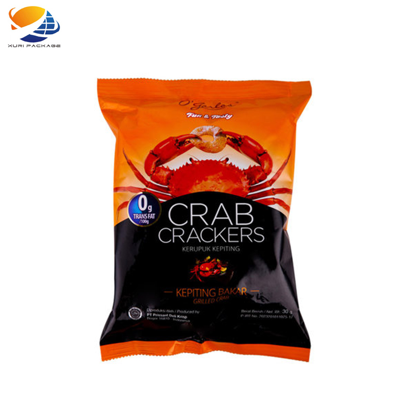 Custom plastic heat sealable design for shrimp and dried rice potato chips snack food Laminated potato chips packaging bags