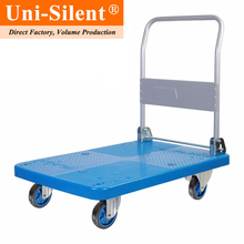 Uni-Silent 300kgs Reasonable Price Folding Handle Plastic Platform Trolley PLA300P-DX