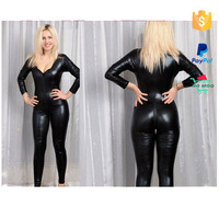 Newest Black Zipper Sexy PVC Leather Catsuit