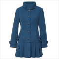 Ladies fashion long sleeves polyester and wool long sleeves ruffle bottom high quality & collar wool college jacket